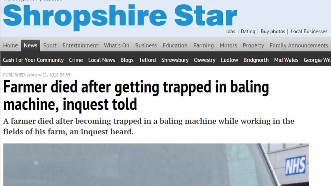 Farmer died after getting trapped in baling machine, inquest told