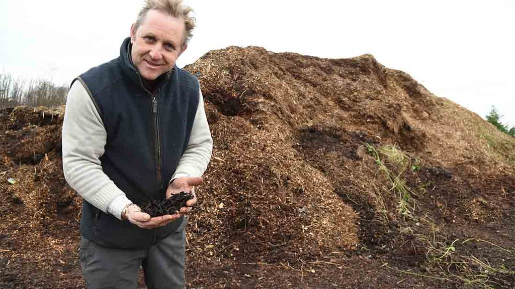 Martin leaves wood chippings to rot down for 12 months before using them for cattle bedding