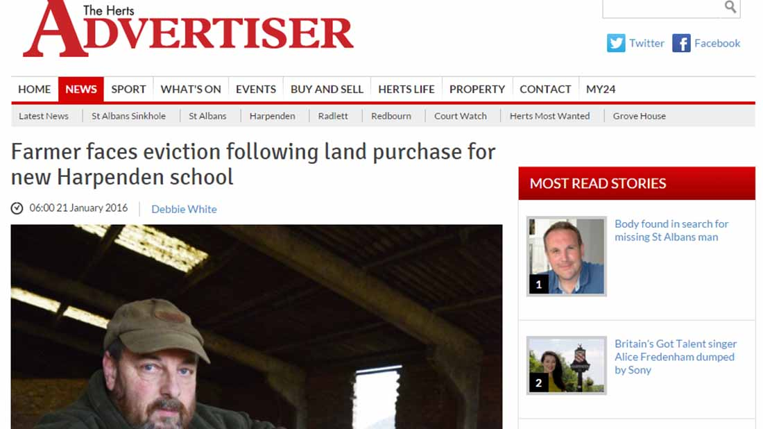 Farmer faces eviction following land purchase for new Harpenden school
