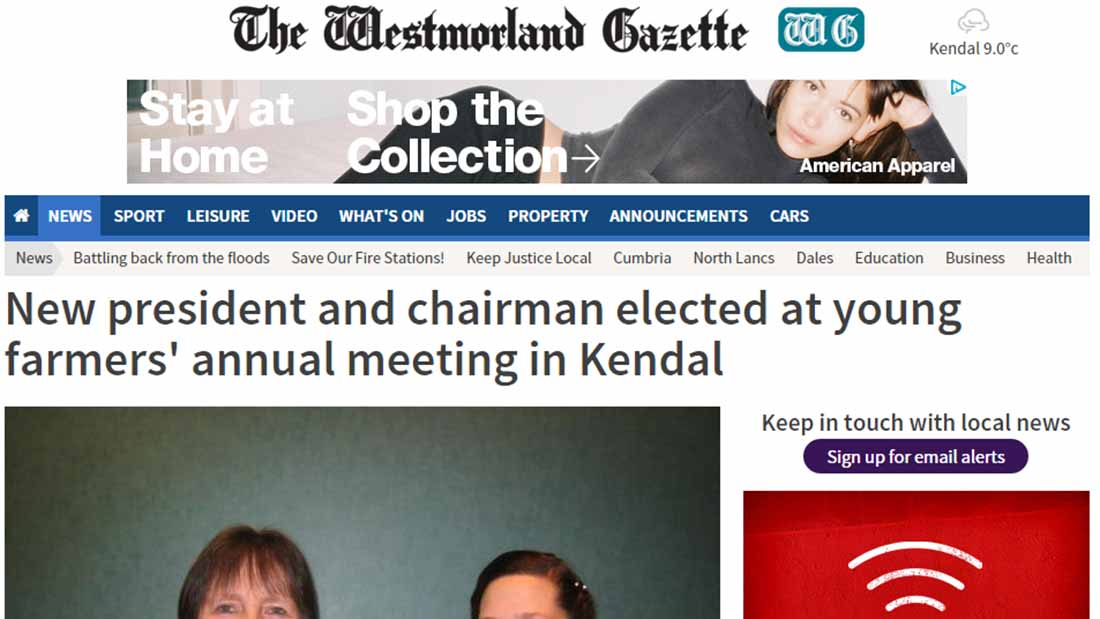 New president and chairman elected at young farmers' annual meeting in Kendal