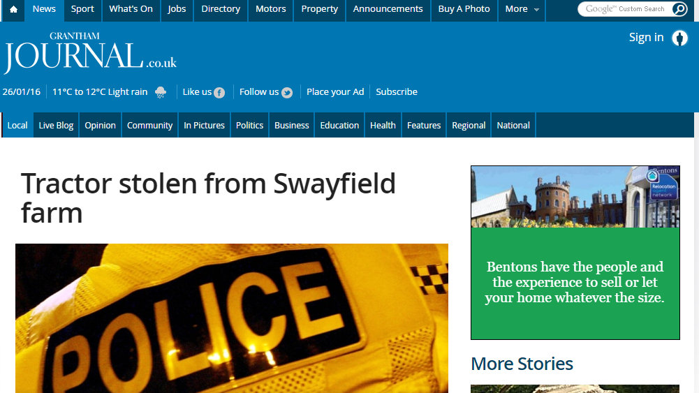 Tractor stolen from Swayfield farm