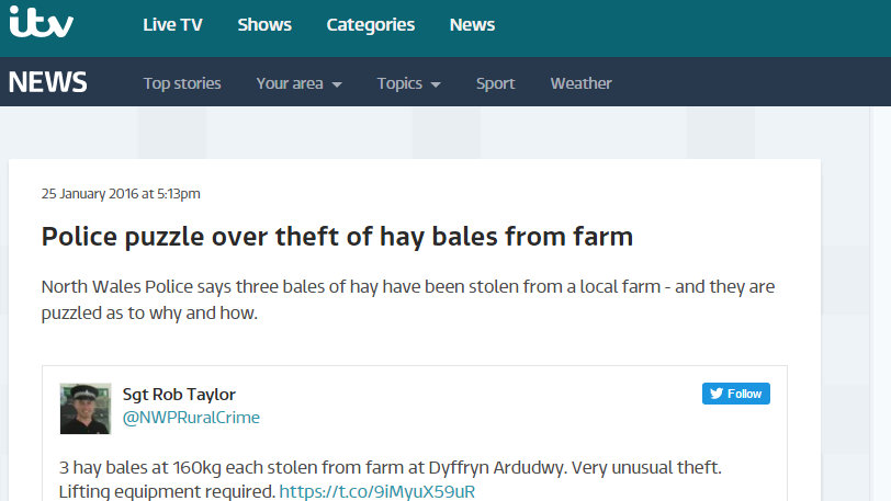 Police puzzle over theft of hay bales from farm