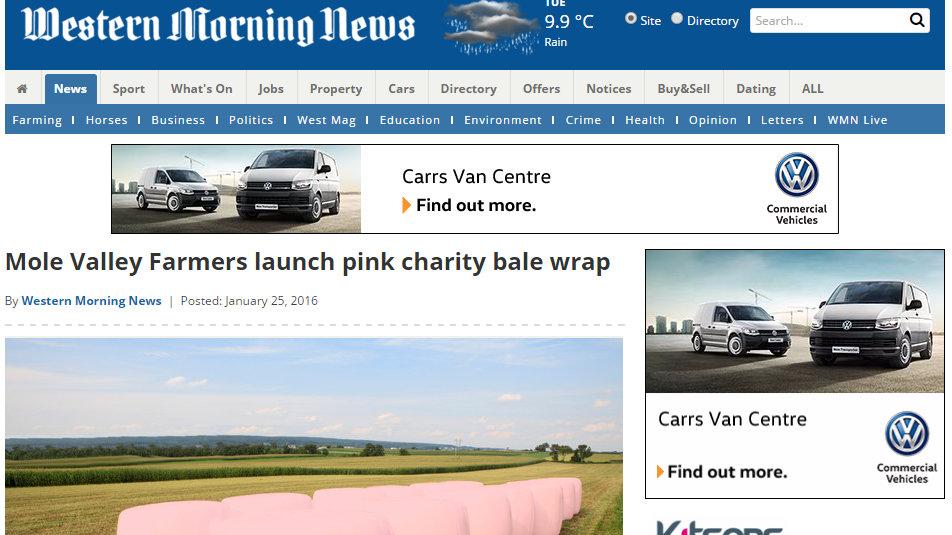 Mole Valley Farmers launch pink charity bale wrap