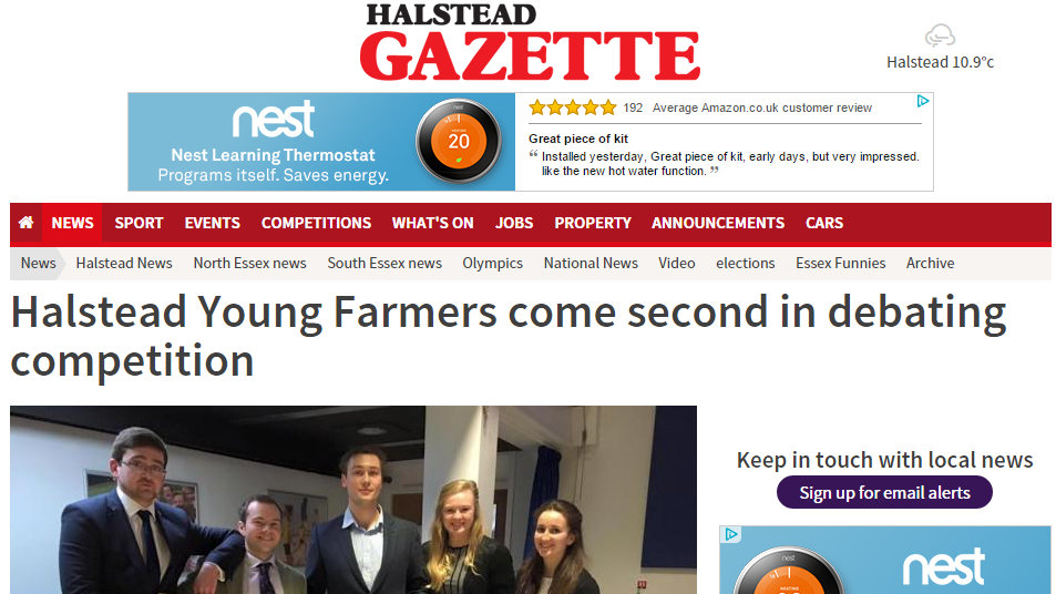 Halstead Young Farmers come second in debating competition