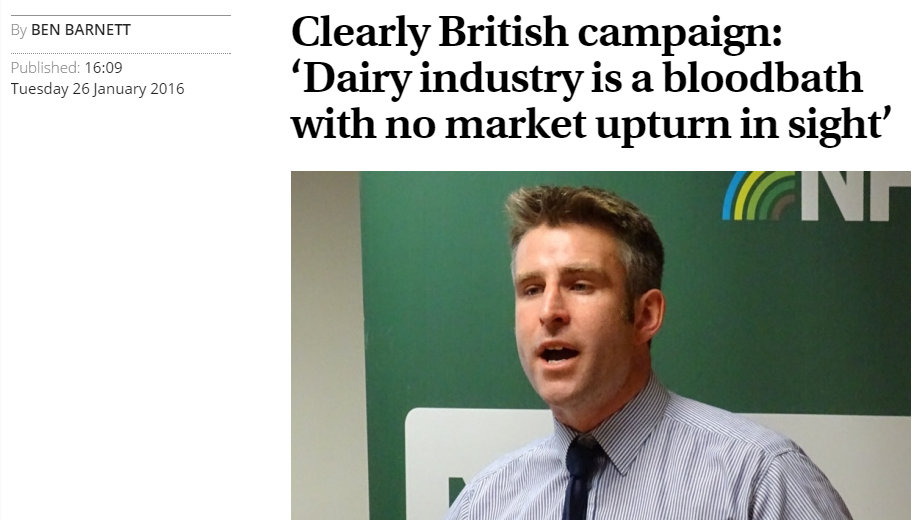 Clearly British campaign: 'Dairy industry is a bloodbath with no market upturn in sight'