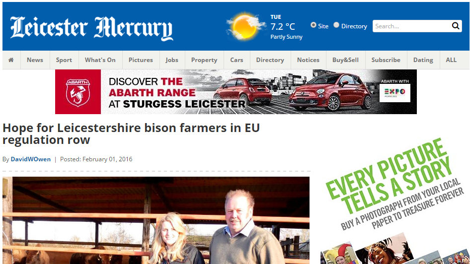 Hope for Leicestershire bison farmers in EU regulation row