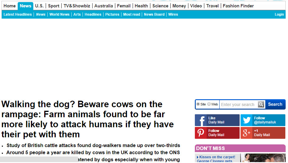 Walking the dog? Beware cows on the rampage