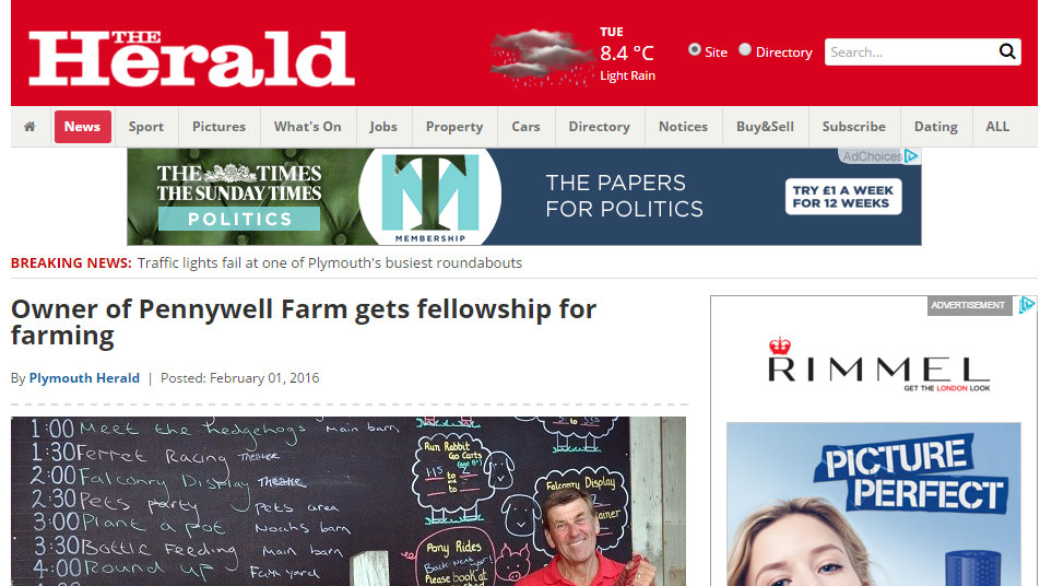 Owner of Pennywell Farm gets fellowship for farming
