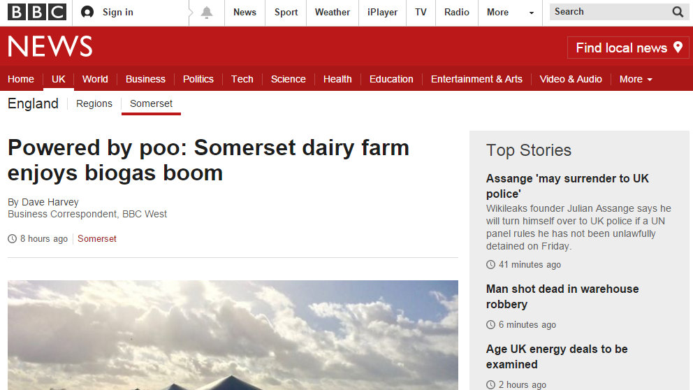 Powered by poo: Somerset dairy farm enjoys biogas boom