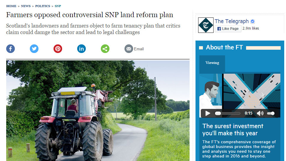 Farmers opposed controversial SNP land reform plan