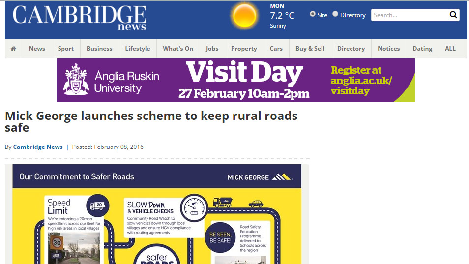 Mick George launches scheme to keep rural roads safe