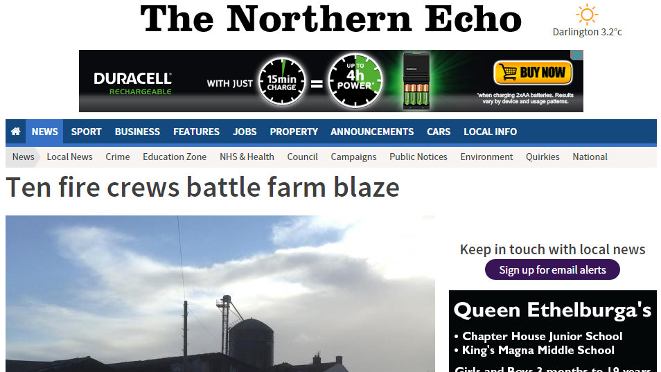 Ten fire crews battle farm blaze