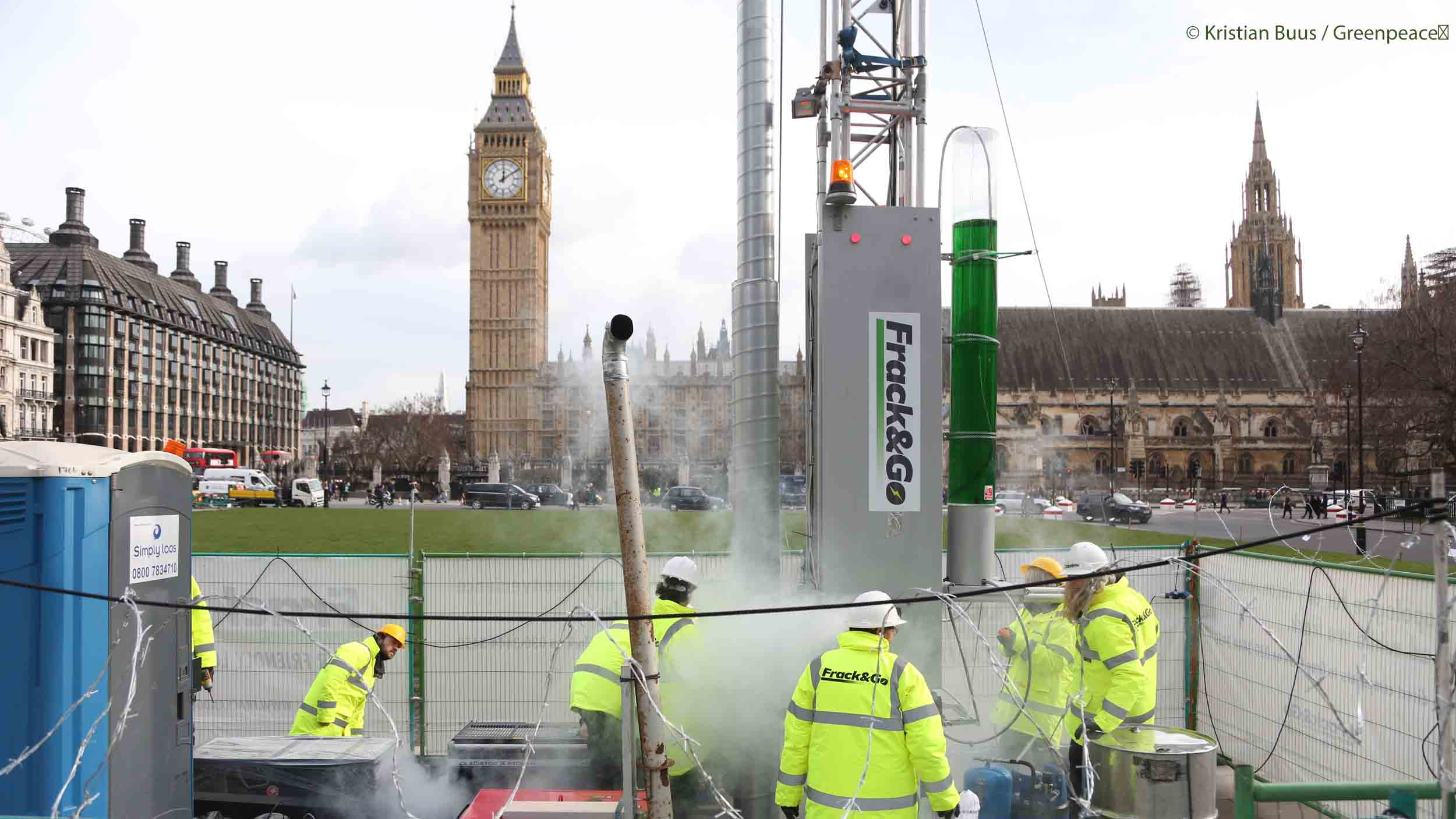 VIDEO: Greenpeace 'fracks' Westminster as Cuadrilla appeal begins