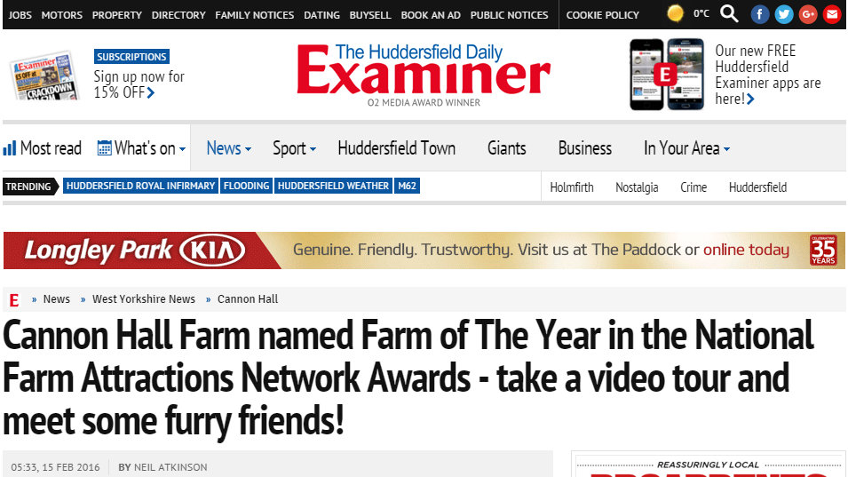 Cannon Hall Farm named Farm of The Year in the National Farm Attractions Network Awards