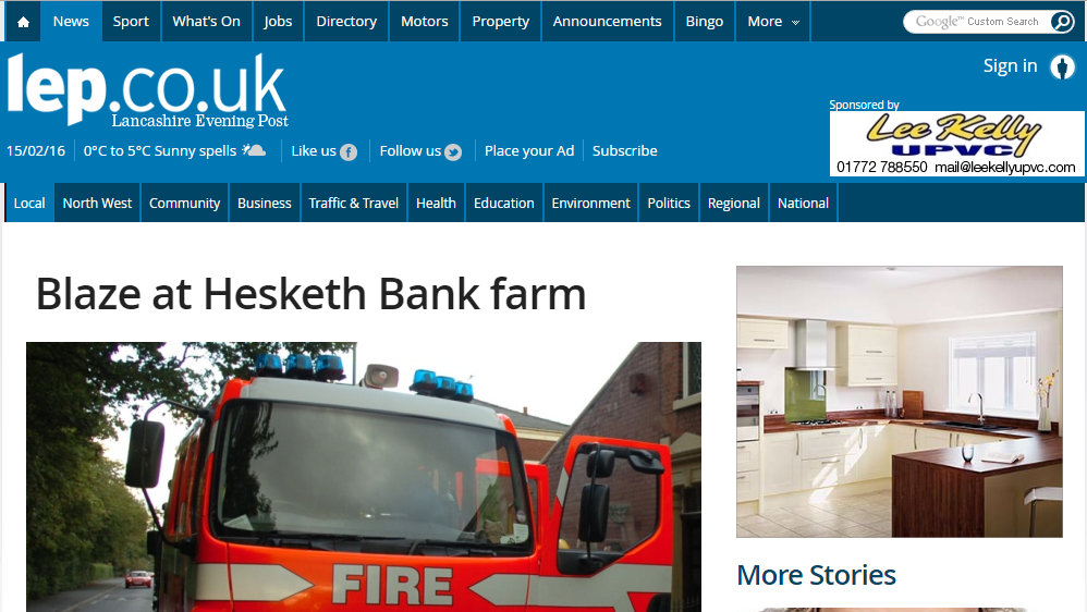 Blaze at Hesketh Bank farm