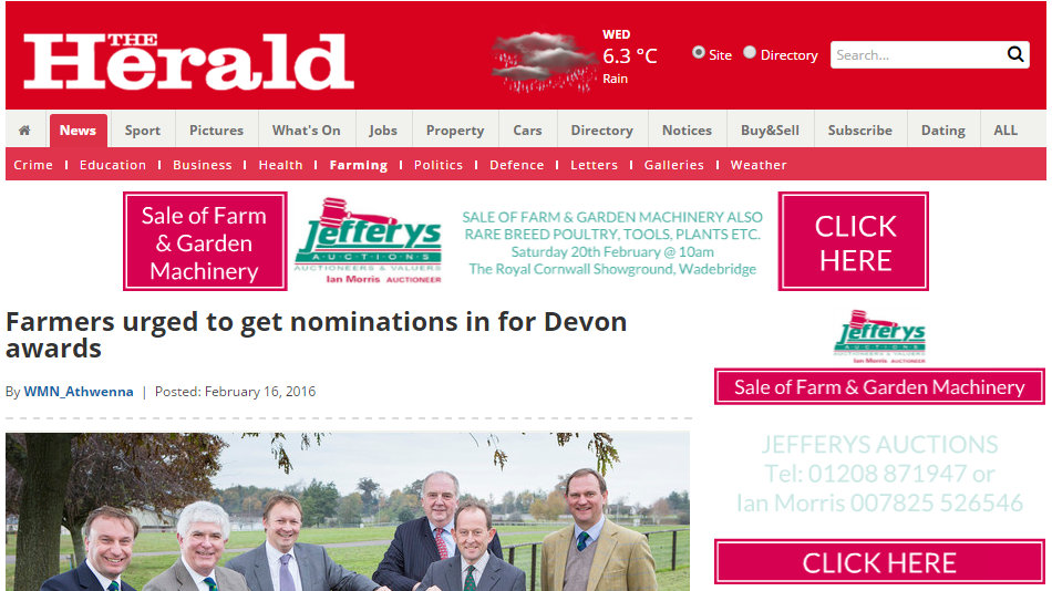 Farmers urged to get nominations in for Devon awards