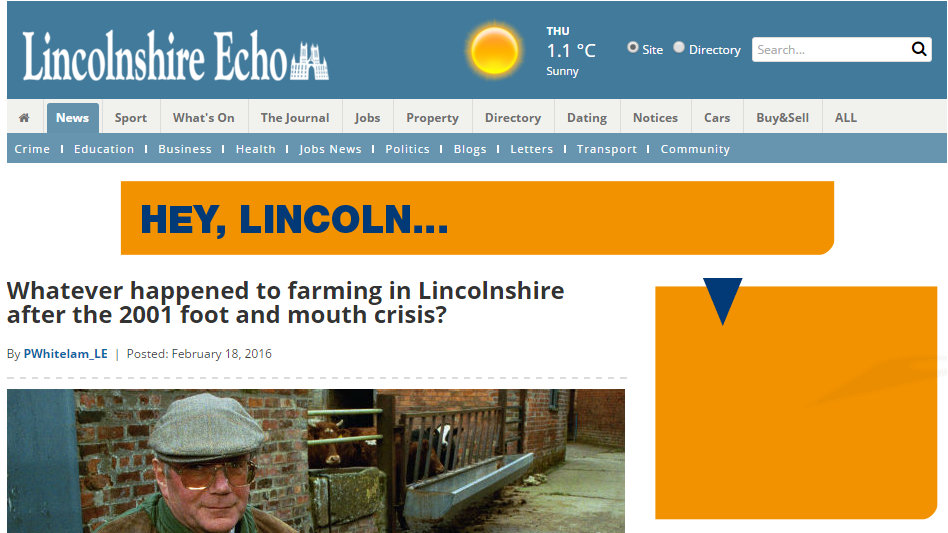 Whatever happened to farming in Lincolnshire after the 2001 foot and mouth crisis?