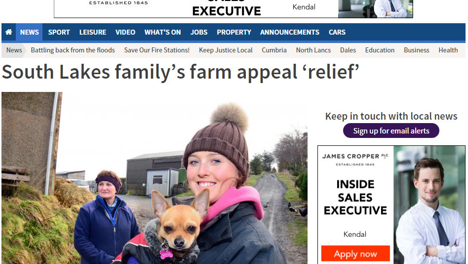 South Lakes family's farm appeal 'relief'