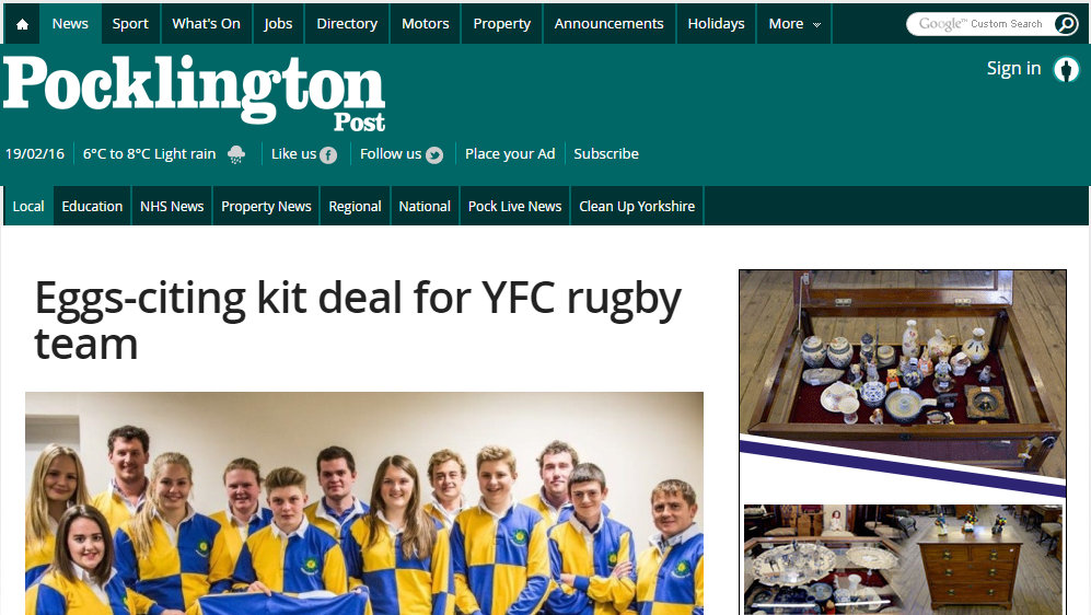 Eggs-citing kit deal for YFC rugby team