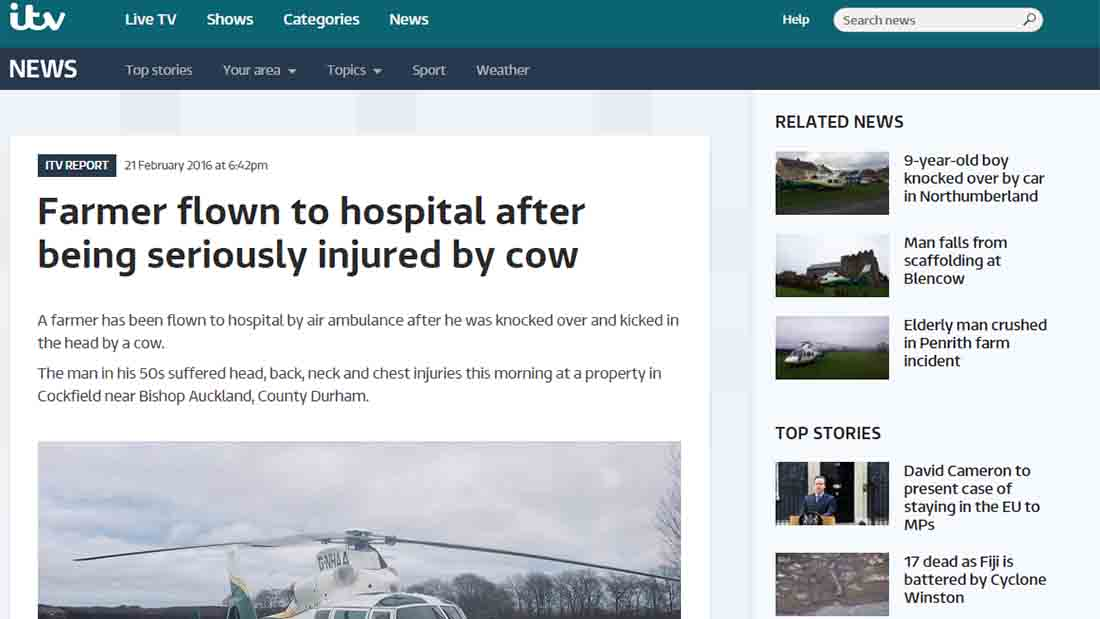 Farmer flown to hospital after being seriously injured by cow