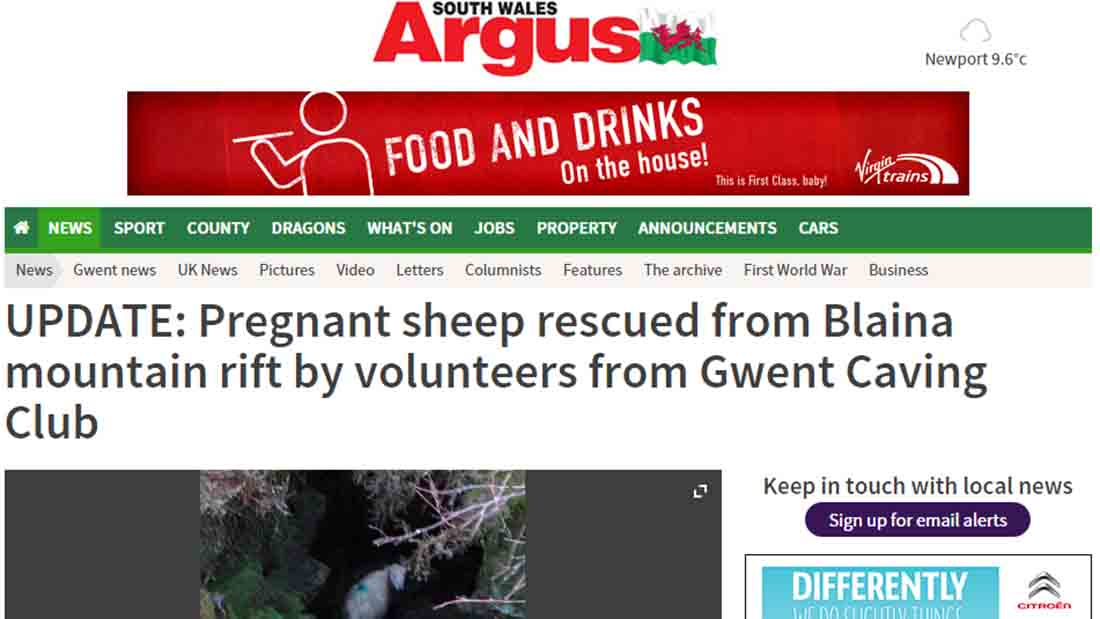Pregnant sheep rescued from Blaina mountain rift
