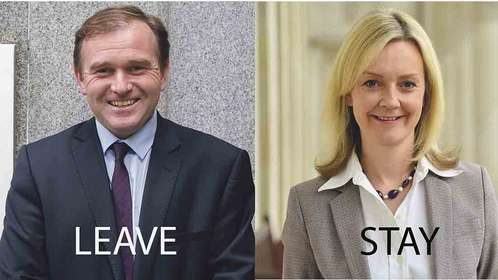 George Eustice and Liz Truss will be campaigning on opposing sides ahead of the EU Referendum