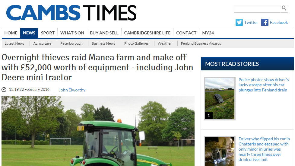 Overnight thieves raid Manea farm and make off with £52,000 worth of equipment