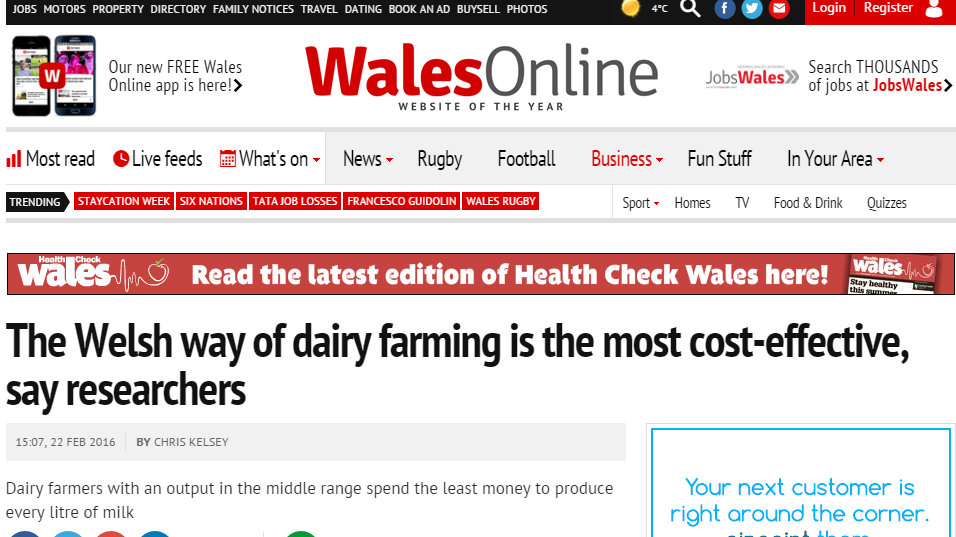 The Welsh way of dairy farming is the most cost-effective, say researchers