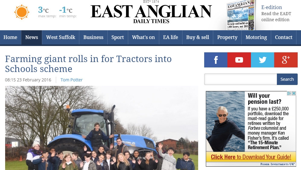 Farming giant rolls in for Tractors into Schools scheme