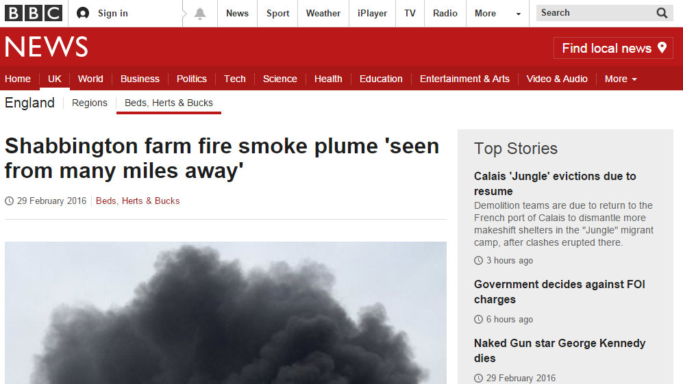 Shabbington farm fire smoke plume 'seen from many miles away'