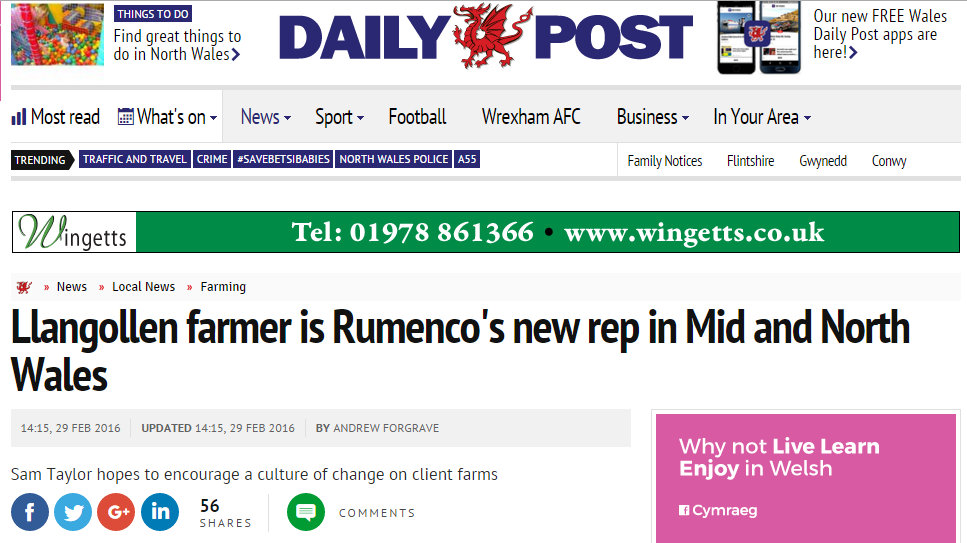 Llangollen farmer is Rumenco's new rep in Mid and North Wales