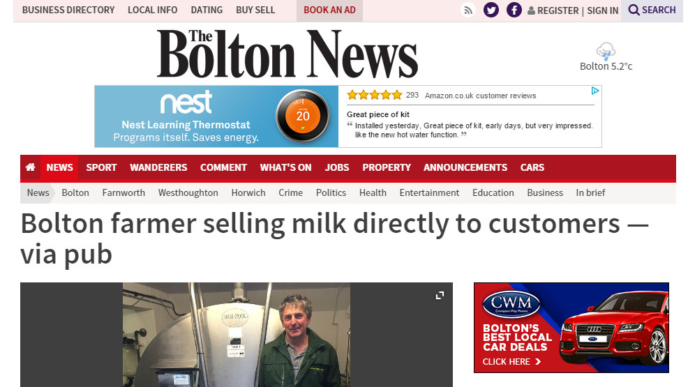 Bolton farmer selling milk directly to customers — via pub