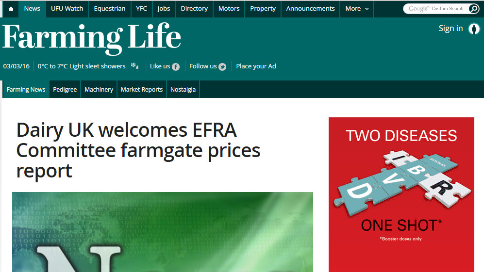 Dairy UK welcomes EFRA Committee farmgate prices report