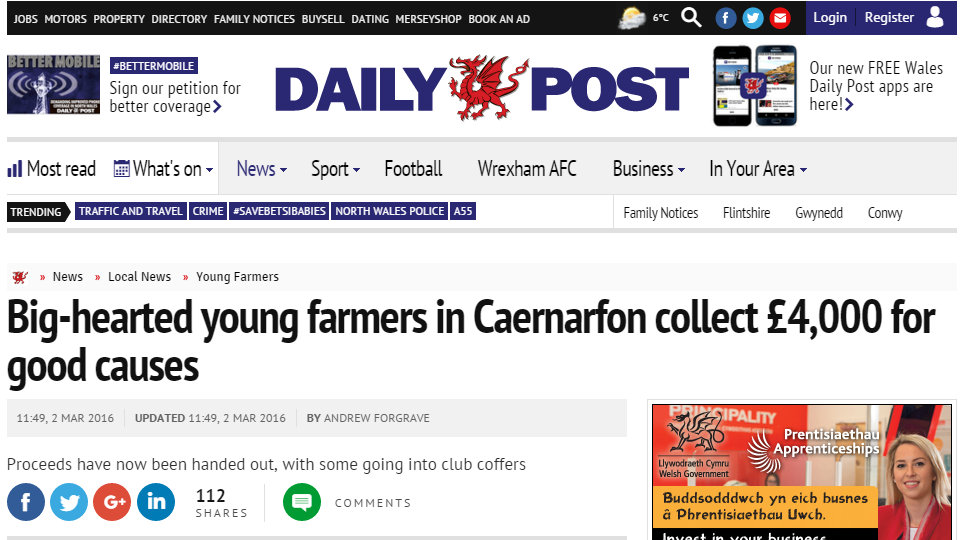 Big-hearted young farmers in Caernarfon collect £4,000 for good causes