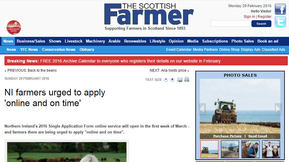 NI farmers urged to apply 'online and on time'