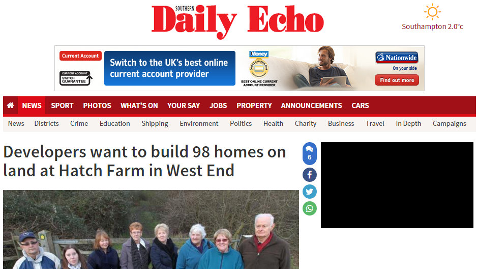 Developers want to build 98 homes on land at Hatch Farm in West End