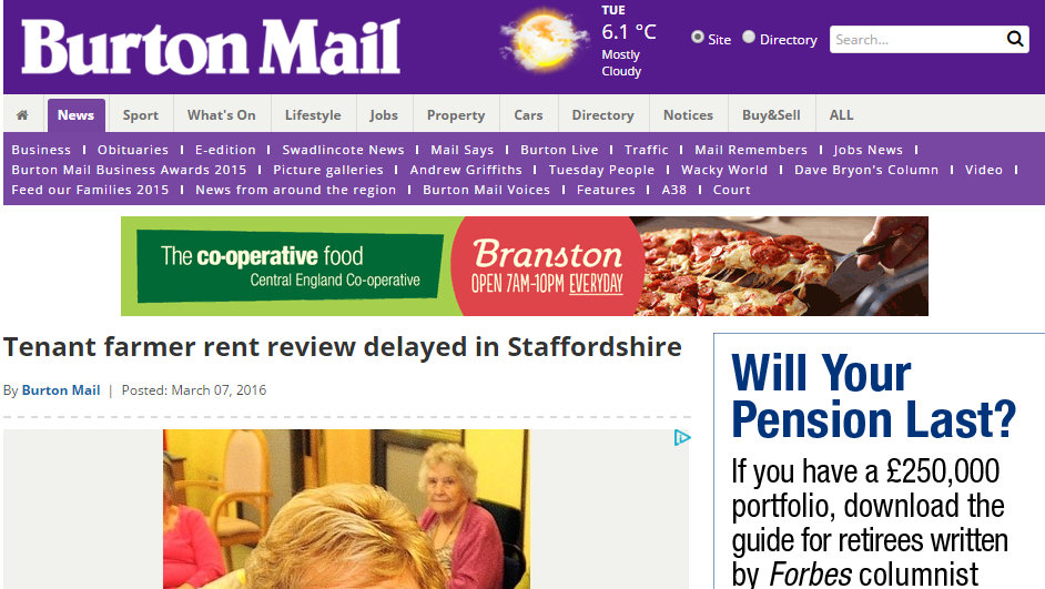 Tenant farmer rent review delayed in Staffordshire