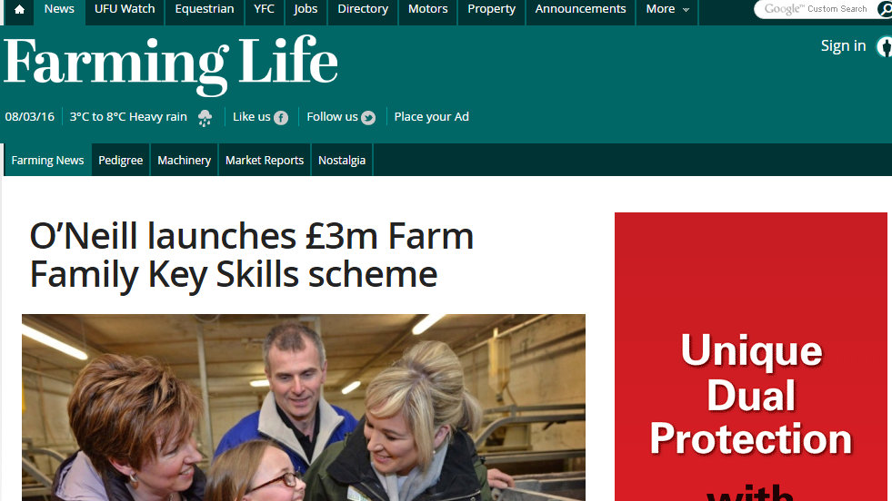 O'Neill launches £3m Farm Family Key Skills scheme