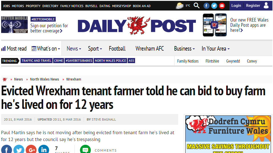 Evicted Wrexham tenant farmer told he can bid to buy farm he's lived on for 12 years