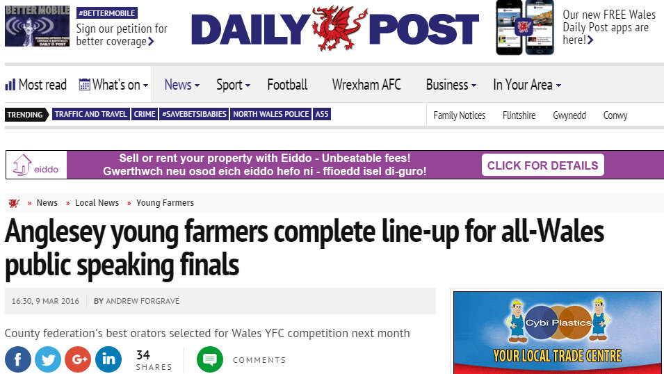 Anglesey young farmers complete line-up for all-Wales public speaking finals