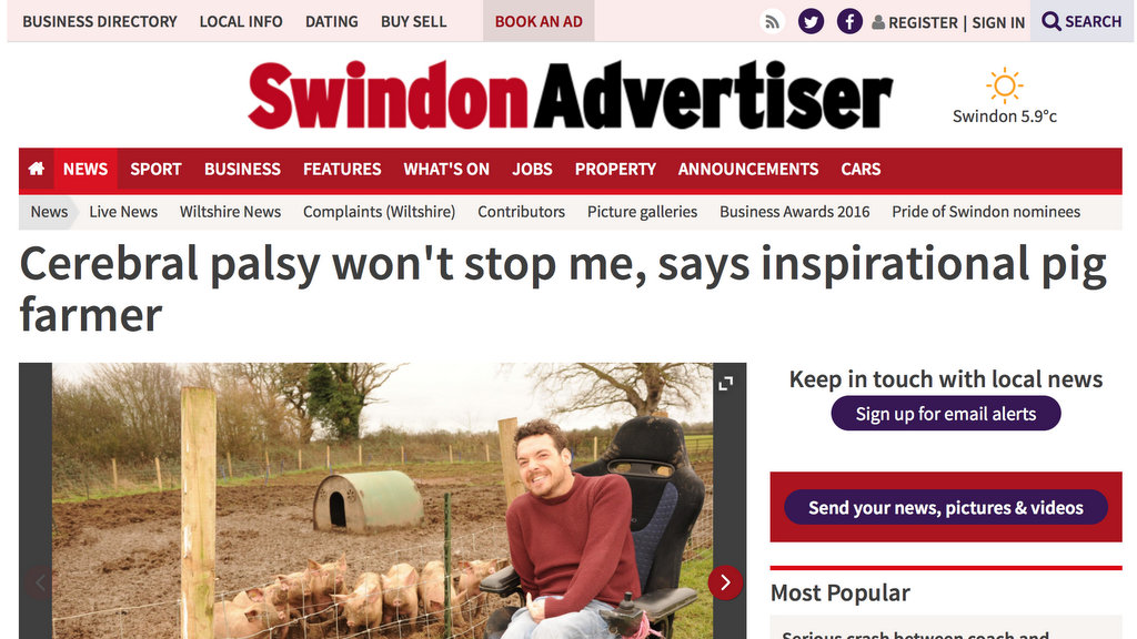 Cerebral palsy won't stop me, says inspirational pig farmer