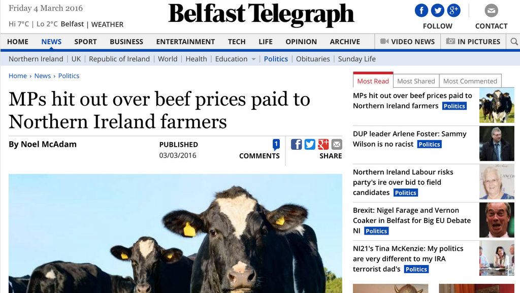 MPs hit out over beef prices paid to Northern Ireland farmers