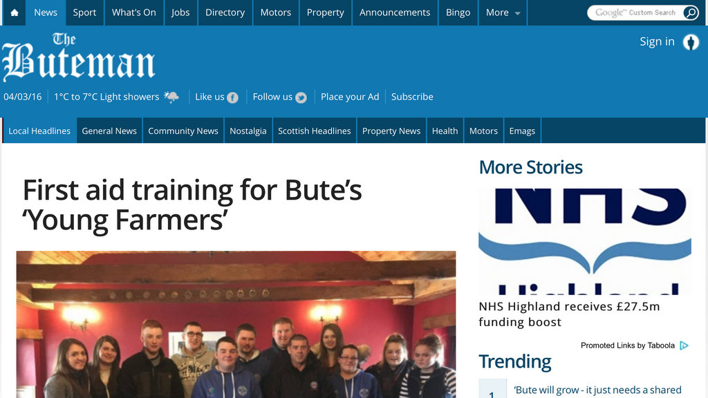 First aid training for Bute's 'Young Farmers'