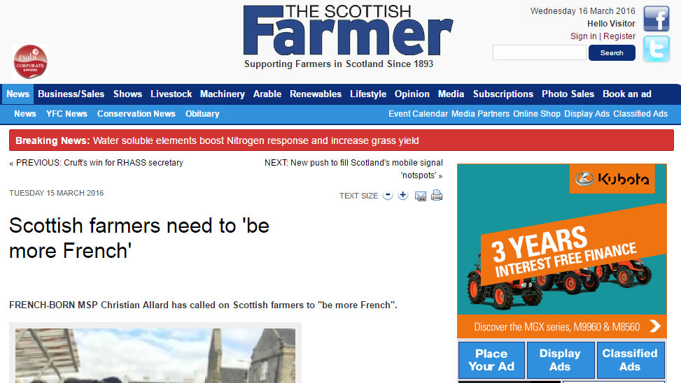 Scottish farmers need to 'be more French'