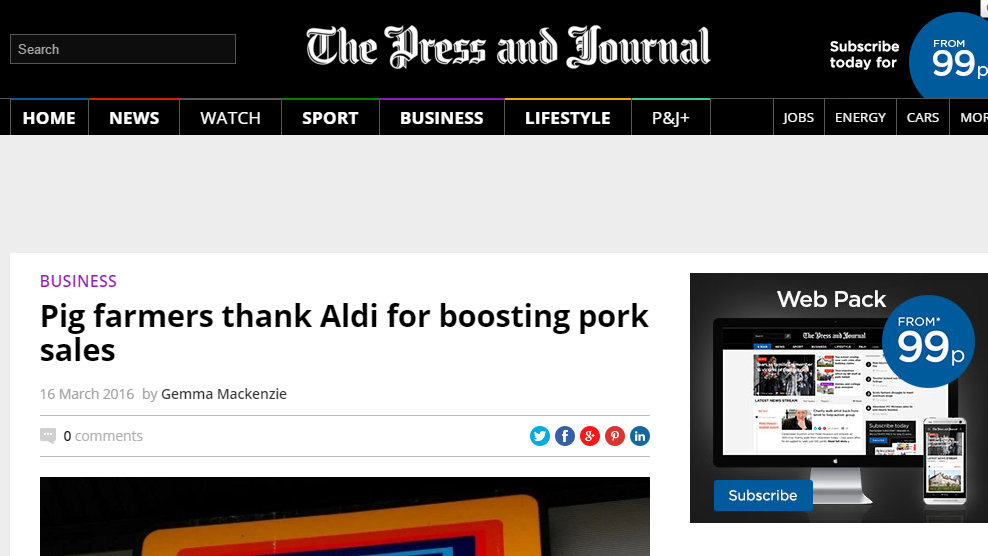 Pig farmers thank Aldi for boosting pork sales