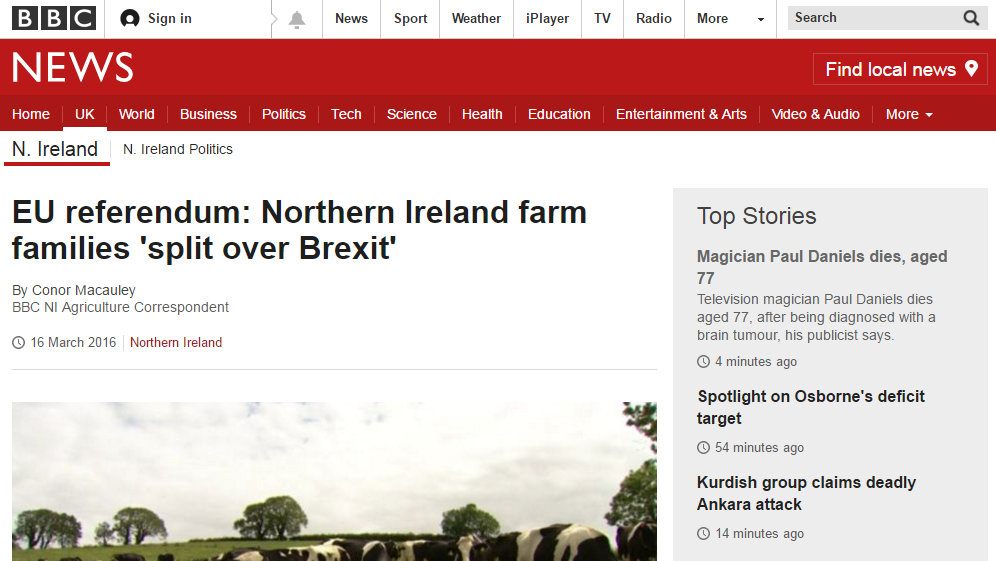 EU referendum: Northern Ireland farm families 'split over Brexit'