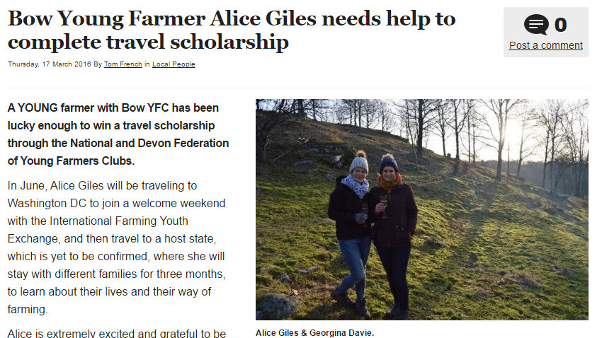 Bow Young Farmer Alice Giles needs help to complete travel scholarship