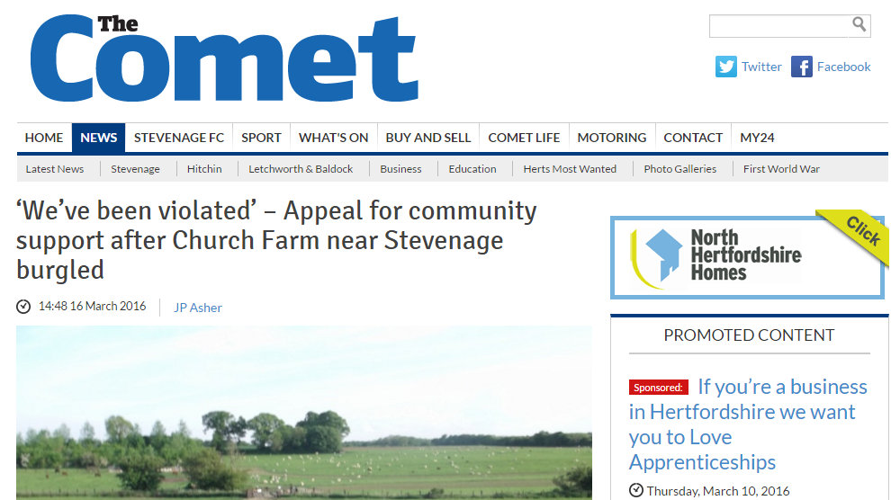'We've been violated' – Appeal for community support after Church Farm near Stevenage burgled