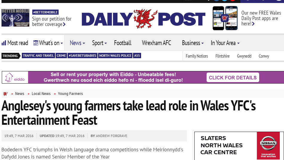 Anglesey's young farmers take lead role in Wales YFC's Entertainment Feast