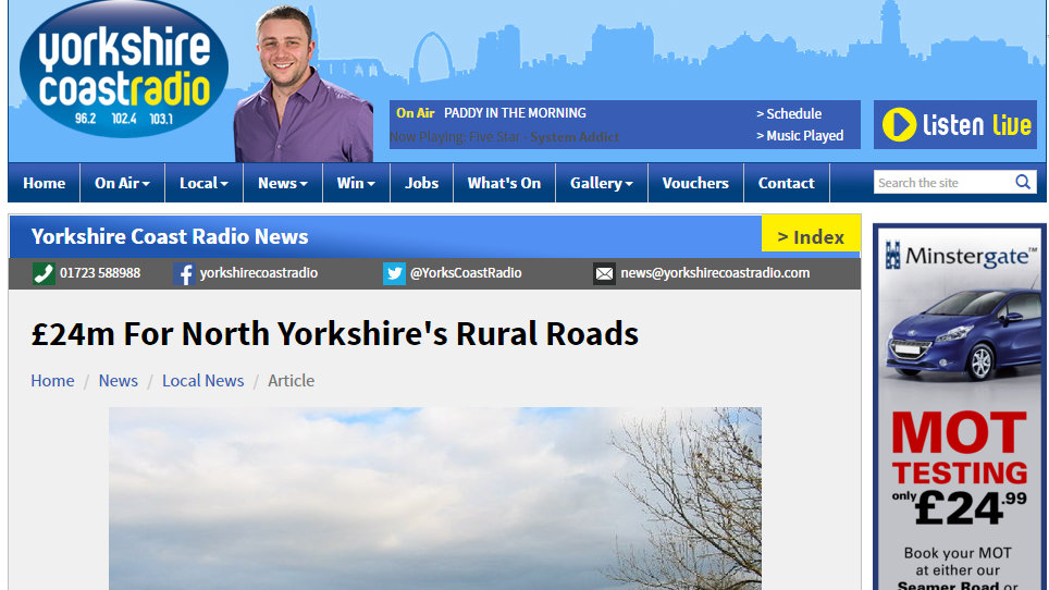 £24m For North Yorkshire's Rural Roads